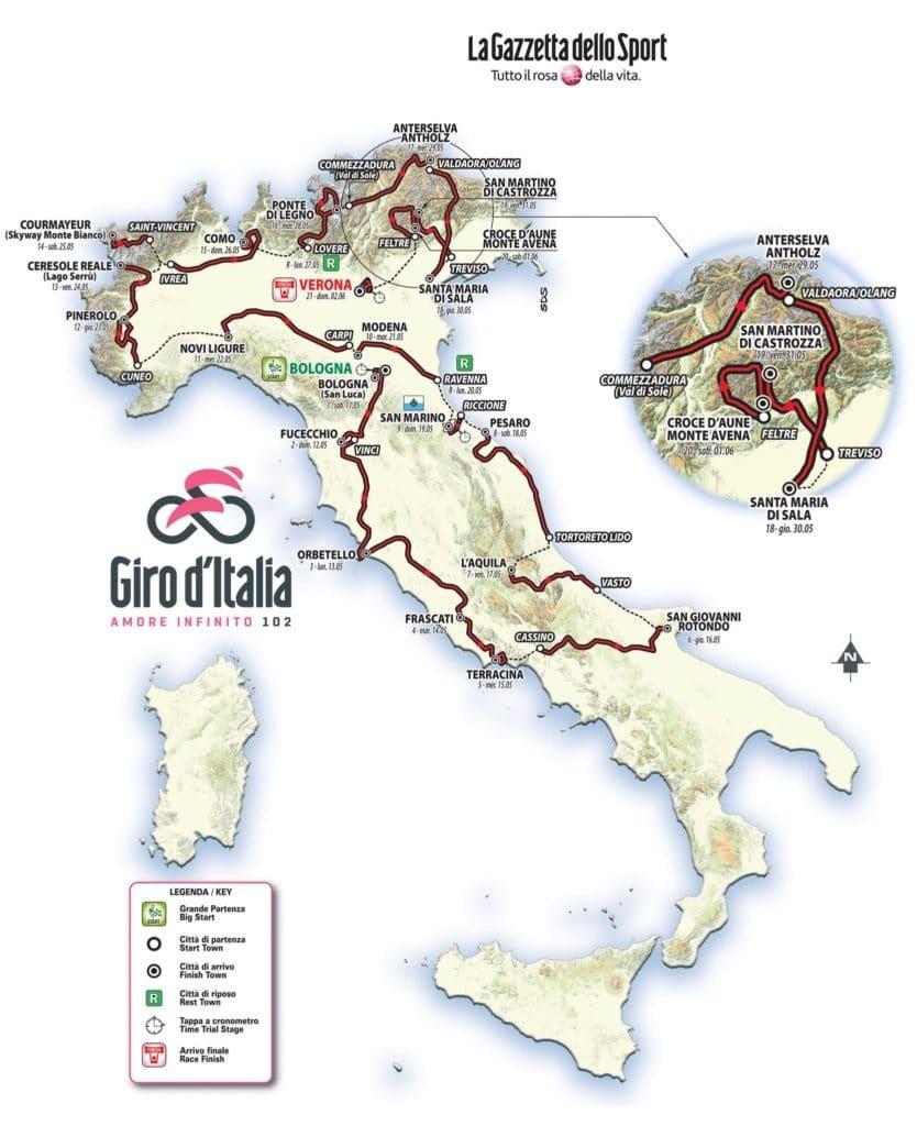 Percorso Giro d'Italia 102